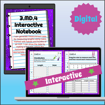 3.MD.4 Interactive Notebook: Measurement & Line Plots for Google Classroom™