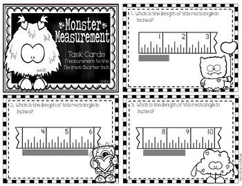 3.MD.4 Measurement to Nearest Quarter Inch/Line Plot Task Cards