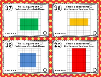3.MD.5 & 3.MD.6 Task Cards: Area & Unit Squares Task Cards 3.MD.5 & 3.MD.6: Area