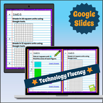 3.MD.5 Interactive Notebook: Area & Unit Squares for Google Classroom™