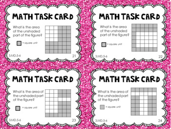 3.MD.5 and 3.MD.6 3rd Grade Math Task Cards (Area)