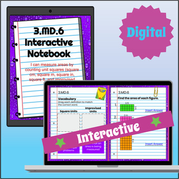 3.MD.6 Interactive Notebook: Finding Area with Unit Squares ⭐ Digital