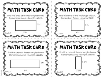 3.MD.7 3rd Grade Math Task Cards (Area)