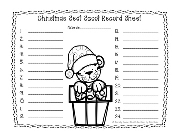 3.MD.7 Christmas Seat Scoot Class Activity- Working with Area