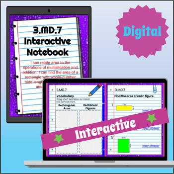 3.MD.7 Interactive Notebook: Area - Multiplication, Addition, & Tiling ⭐ Digital