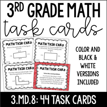3.MD.8 3rd Grade Math Task Cards (Two Sets: Perimeter and Area/Perimeter)