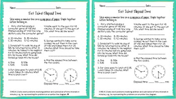 3.MD.A.1 Elapsed Time Exit Ticket