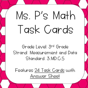 3.MD.C.5 Area of Plane Figures Task Cards