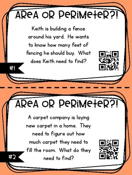 3.MD.C.5 - Area or Perimeter? Task Cards with and without QR Codes