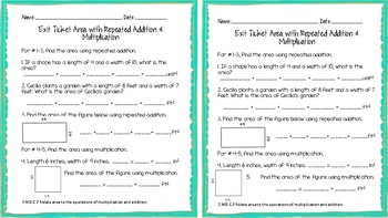 3.MD.C.7 Area with Repeated Addition and Multiplication Exit Ticket