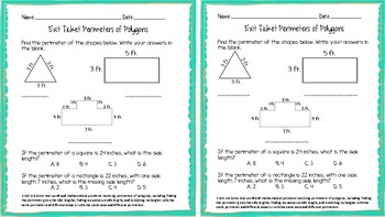 3.MD.D.8 Perimeter of Polygons Exit Ticket