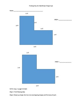 3.MDC.7 Area of Rectilinear shapes Exit Ticket
