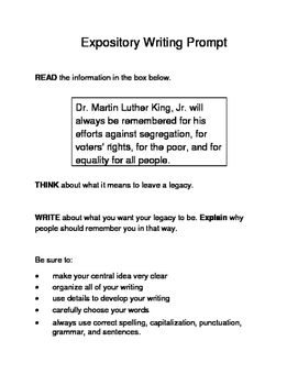 3 MLK.-Themed Expository Writing Prompts (STAAR/TEKS) Set C 3rd 4th 5th Grades