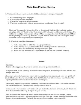Main Idea Practice Sheets (3 worksheets)