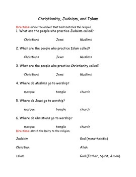 3 Main Religions Multiple Choice Questions