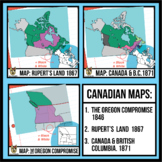 3 Maps of Canada (1846-1871) Clipart: Rupert's Land, Orego