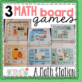 3 Math Board Games: Review Place Value, Rounding, and Fractions