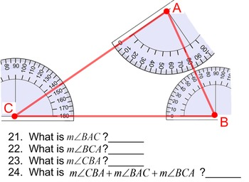 Measuring Angles for Power Point, 6 Assignments - No Protractor Needed