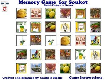 3 Memory Game for Soukot photo to photo English