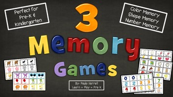 3 Memory Games - Colors, Shapes, Numbers!