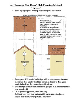 """Clay Bird House ( Beginners, Med. & Advanced)  Intro to """"3 View Ortho"""" Drawing"""