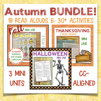 3 Mini Units: Fall, Halloween, Thanksgiving--18 Read Alouds, 30+ Activities