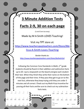 3 Minute Addition Tests - 2-9 Facts - Aligns with Common Core
