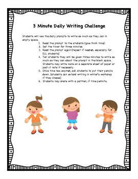 3 Minute Daily Writing Challenge Activity/ STAAR Writing Practice