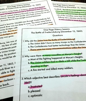 One Page Reading Comprehension Passage and Questions: Civil War Complete Bundle