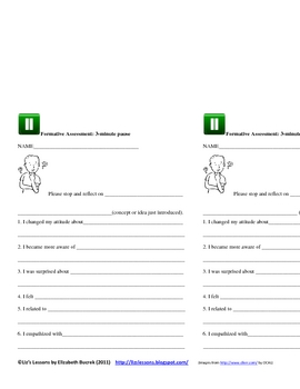 3-Minute Pause Formative Assessment Template