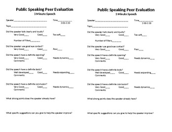 3 Minute Peer Evaluations