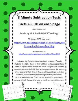 3 Minute Subtraction Tests - 2-9 Facts - Aligns with Common Core