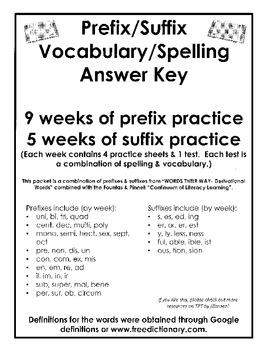 3 Month Prefix & Suffix ANSWER KEY