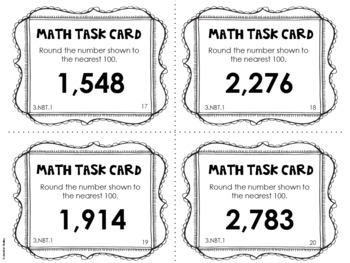 3.NBT.1 3rd Grade Math Task Cards (Rounding to the Nearest 10 and 100)