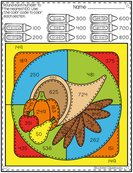 3.NBT.1 Fall Color by Code Rounding to the Nearest 100 with 3-Digit Numbers