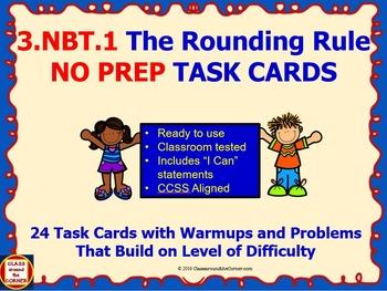 3.NBT.1 Math 3rd Grade NO PREP Task Cards—ROUNDING RULE PR