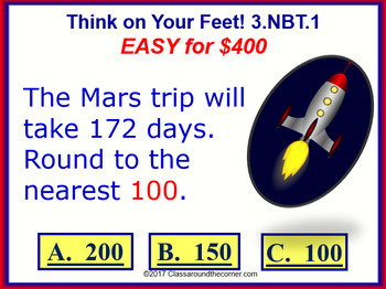 3.NBT.1 THINK ON YOUR FEET MATH! Interactive Test Prep Game—Round Up or Down
