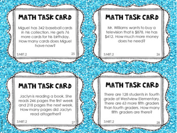 3.NBT.2 3rd Grade Math Task Cards (Adding and Subtracting within 1,000)