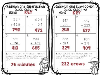 3.NBT.2 Addition and Subtraction Quick Checks **Freebie**