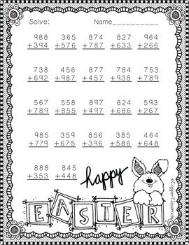3.NBT.2 Easter Themed 3 Digit Addition With Regrouping