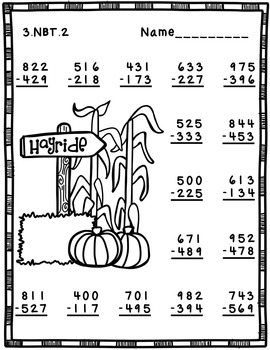 3.NBT.2 Fall Themed 3 Digit Subtraction With Regrouping