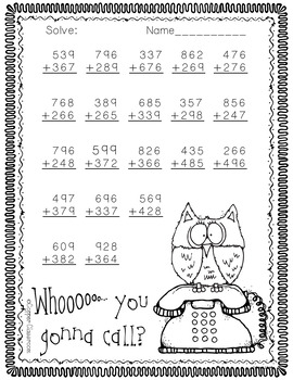 3.NBT.2 Halloween Themed 3-Digit Addition with Regrouping