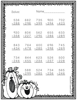 3.NBT.2 More Fall Themed 3 Digit Subtraction With Regrouping