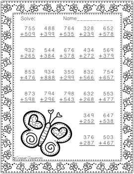 3.NBT.2 Spring Themed 3 Digit Addition With Regrouping