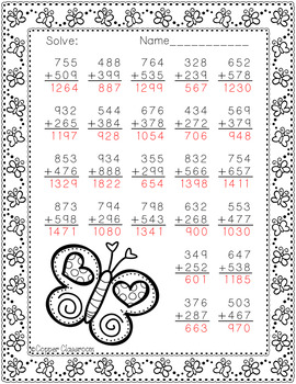 3.NBT.2 Spring Themed 3 Digit Addition With Regrouping Freebie