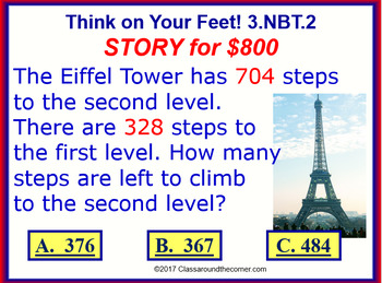 3.NBT.2 THINK ON YOUR FEET MATH! Interactive Test Prep Game—Adding & Subtracting