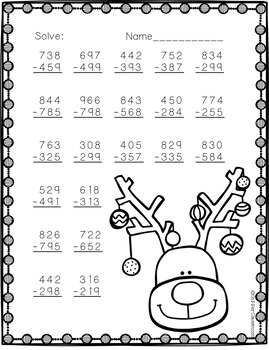 3.NBT.2  Three Digit Subtraction With Regrouping Bundle