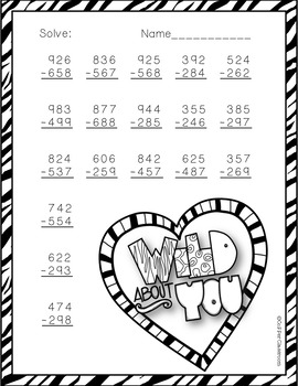 3.NBT.2 Valentine's Day Themed 3 Digit Subtraction With Regrouping