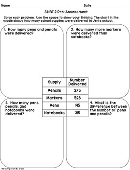 Math Worksheets: 3.NBT.2 Add & Subtract within 1,000 - Word Problems
