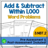 Math Worksheets: 3.NBT.2 Add & Subtract within 1,000 - Wor